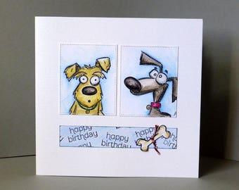 handmade card, handmade birthday card, dog card, fun card, humorous card,