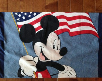TWO Vintage Mickey Mouse Fourth of July Pillowcases - 30 inches x 18.5 inches - 4th of July Mickey Mouse Pillowcases