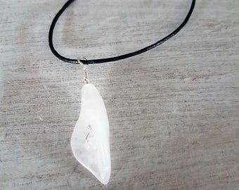 Rose quartz calla lily choker necklace
