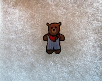 Teddy Bear Jewelry Pin - handcarved and handpainted