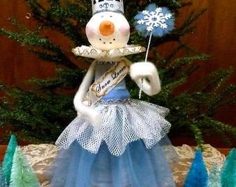 Thread Cone Snow-Lady, Handmade Snowman, Snow Queen, Handmade Snowman Decoration, Paper Clay Snowman, Vintage Inspired Christmas