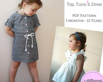 Juniper Children's Top, Tunic and Dress PDF Pattern