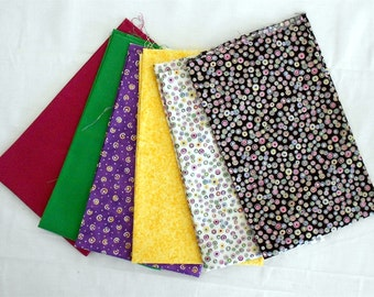 Metallic Dots/Spots/Blender/Solid Fabric Fat Quarter Bundle 6pc. -yellow/green/white/black/purple (#O119)