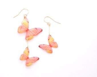 Light Coral Butterfly 14K Gold Filled Asymmetrical Earrings [Pierced or clip-on]