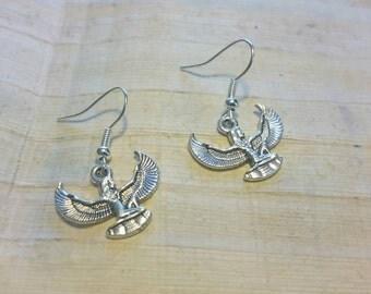 Egyptian Goddess Isis Earrings - Tibetan Silver Charms - Handmade, Egyptian Earrings, Isis Earrings, Isis Jewellery, Egyptian Goddess, Wings