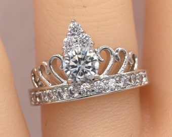 Vintage Style Crown ring/Crown ring/White gold crown ring/Promise ring/Best friends/Friendship ring #471