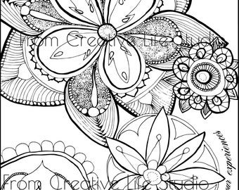 Floral Burst Adult Coloring Page