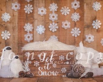 Let it Snow Christmas Newborn Digital Backdrop