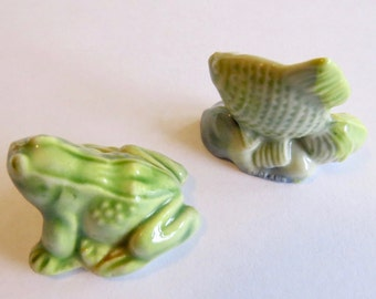 Wade Whimsies Frog & Fish Figurines (2 pc set)
