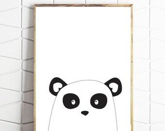 panda printable, nordic art, scandinavian print, printable art, kids bear art, panda wall decor, panda home art