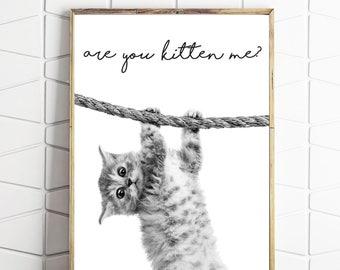 cat wall art, kitten me art, cat lover art, cat wall decor, cat home decor, cat printable art, cat funny decor, cat funny art