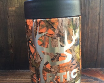 Rtic can cooler done in hunter orange camo with buck outline