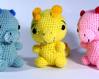 Crocheted baby dragon - Childrens toys- Knitted animals - Nursery Decor