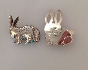 Sterling Rabbit Bunny Pins, 2
