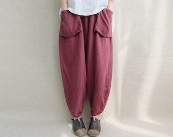 Women Loose Trousers Large Pocket Wide Leg Pants Linen Harem Pants