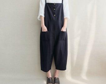 Women Loose Black Linen Jumpsuits Overalls Pants With Pockets, Women Summer Casual Pants Legging Pants