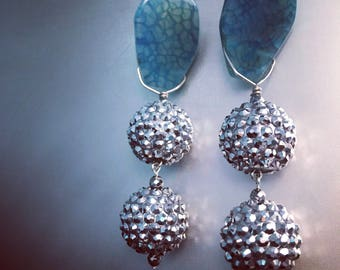 Large Silver and Blue Agate Drop Earrings; Statement Earrings