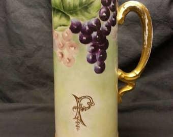 Limoges Tankard Jean Pouyat Circa 1904 Grape