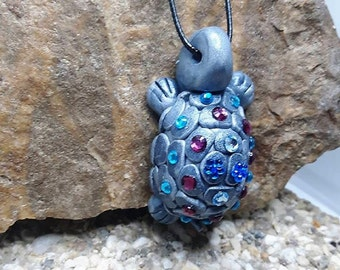 Turtle necklace with Rhinestones in fimo