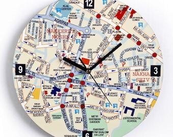 Center of Jeruslaem Map Wall Clock - English