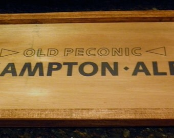 Old Peconic Hampton Ale Beer Crate Serving Tray - Shelter Island - Barware - Holds Bottle Glasses - Man Cave - Cleat Handles -