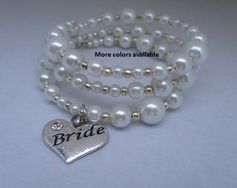 Bride Expandable Multi-Layer Pearl & Charm Bracelet-Bride gift-Bride to be gift-Bride jewelry-Bride bracelet-Bridal Party gift-Wedding, B400
