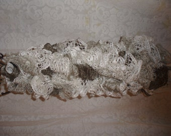 Gray/white/charcoal ruffled scarf