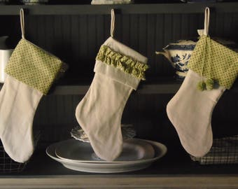 Vintage farm style  fabric Christmas stocking