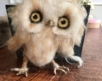 Needle Felted Baby Owl, soft sculpture