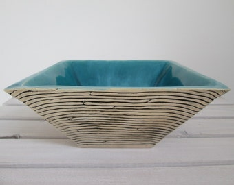 ceramic modern big turquoise bowl on snacks or sweets unique gift for friend decorative handmade square minimalistic bowl