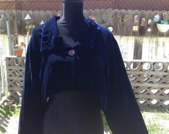 80s Sapphire Velvet Cropped Blazer