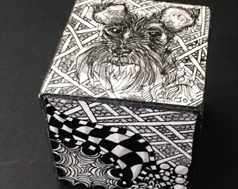 schnauzer, dog, gift, pet, Zentangle, Pet Tangle Cube, print of original dog art, handmade