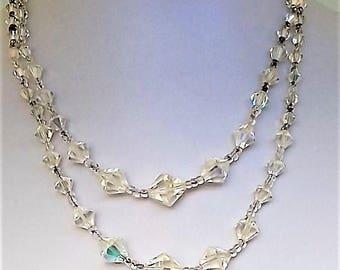 1940's Double Cone Aurora Borealis Glass Necklace Bridal Wedding
