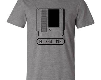 Classic Nintendo Cartridge Blow Me Funny Graphic T-Shirt