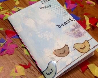 Crafty Bird Journal, Handmade Journal, Handbound notebook, Travel Journal, Bullet journal