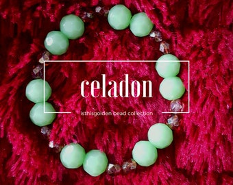 Celadon- Green and Gold Beaded Bracelet
