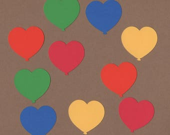 40 - 1.5 inch Heart Balloon  Die Cuts for Paper Craft Embellishments  Primary Colors Set 7012