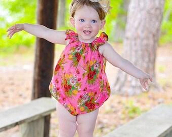 Bubble romper for baby girls - romper for toddler girls - girls flutter sleeve romper - girls spring romper - spring romper for baby girl