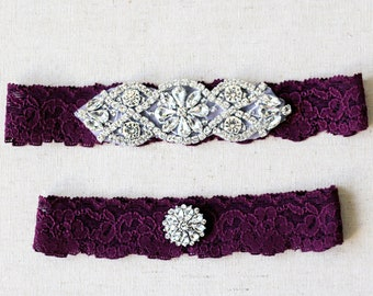 Plum purple Wedding Garter Set NO SLIP grip vintage rhinestones