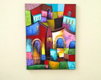 Oil painting City art City landscape painting Surreal art Small art Old Town art Urban art Surrealism painting Home decor wall art canvas