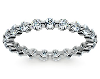 Floating Diamond Eternity Ring in White Gold (1 ctw)