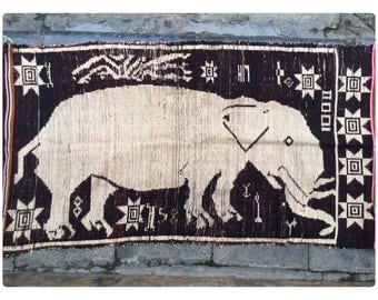 Vintage tribal White Thai textile wall hanging in Nghe an province,bordering between Vietnam and Lao country