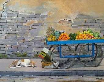 Siesta by the Fruit Stand - painting print