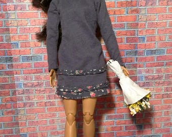 Navy blue raglan dress with floral ruffles for Barbie, Fashion Royalty, Liv and other fashion dolls
