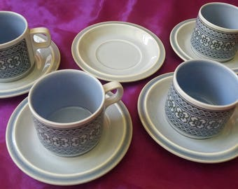 Hornsea Tapestry cups and saucers, retro, vintage