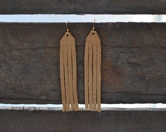 Tan or Black Suede Fringe, Fringe Earrings, Leather Earrings