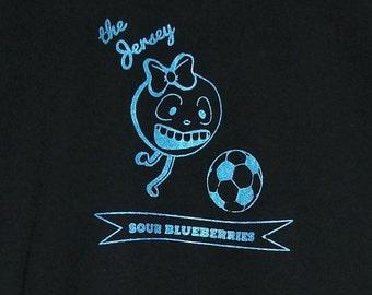 Blueberry Soccer Sports T-shirt : Hand Screen Printed, vegan, men's, women's, cute, fruit, vegetable, lucky fin, football, New Jersey mascot
