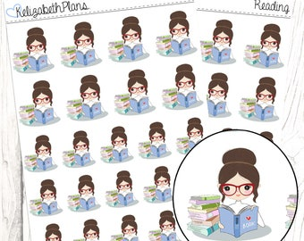 Reading (Lizzie Collection) | Me Time, Books, Study, Reading, Planner Stickers
