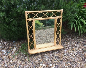 Vintage Mid Century Bent Cane and Woven Rattan Wall Mirror - with folding shelf