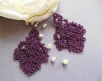 Purple tatting earrings, filigree lace earrings, lace tatting jewelry, purple chandelier earrings, tatting jewelry.